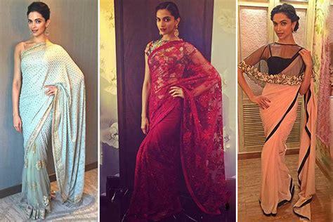 deepika padukone gold saree 7 deepika padukone sarees for some major style inspiration