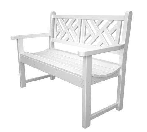 white plastic garden bench chippendale 48in garden bench recycled outdoor furniture cb48