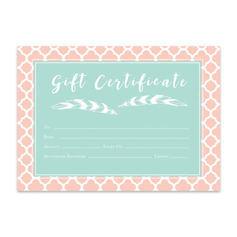 e gift card electronic certificate template pink mint green geometric gift certificate