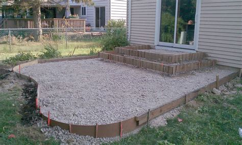 Cement Backyard Ideas Poured Concrete Patio Designs Patio And Steps Were Framed And Leveled Ready For The