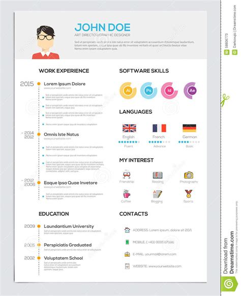 curriculum vitae flat design flat resume with infographics stock vector image 58806773