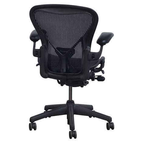 herman miller aeron posturefit  size  leather arm task chair carbon national office