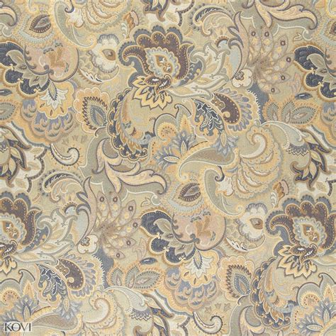 blue paisley upholstery fabric beige gold and dark blue large intricate floral and