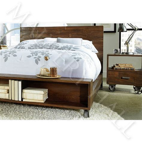 Iron Platform Bed Solid Reclaimed Wood Cast Iron Platform Bed Industrial Style Ebay