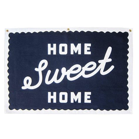 home sweet home script stitched felt wallhanging three
