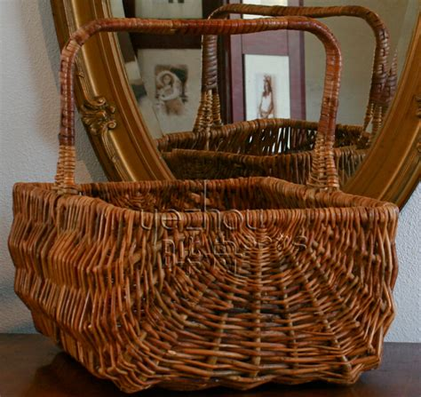 Handmade Picnic Baskets - large antique farm wicker picnic basket with handle