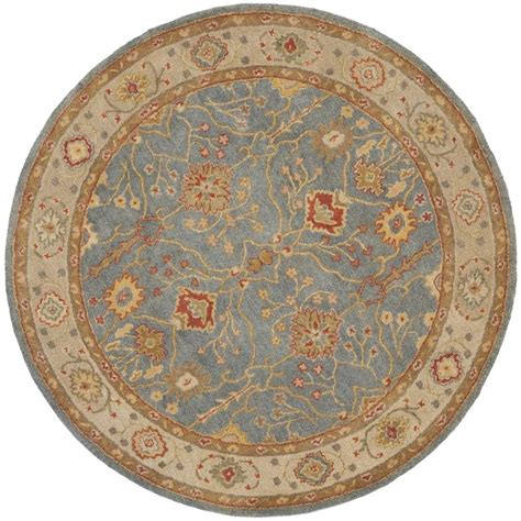 Safavieh Antiquity Blue Ivory 6 Ft X 6 Ft Round Area Rug 6 Foot Rugs