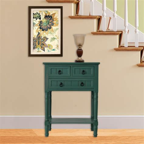 console accent tables decor therapy antique teal 3 drawer console accent table
