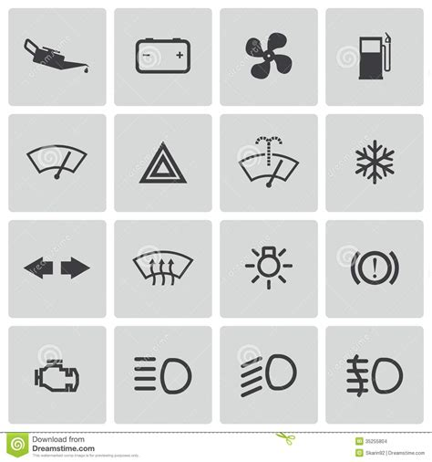 format eps signification vector balck car dashboard icons set stock images image