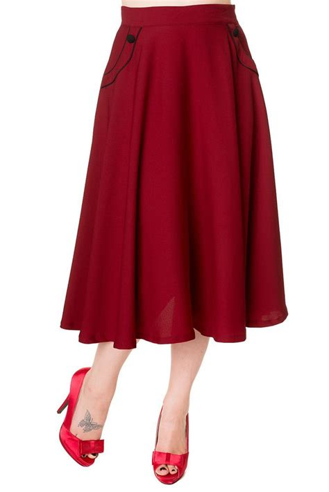 red swing skirt banned vintage style gracie swing skirt deep red