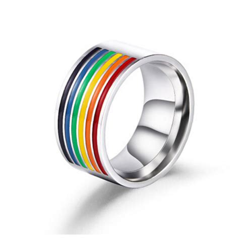 316l stainless steel rainbow rings pride lgbt jewelry