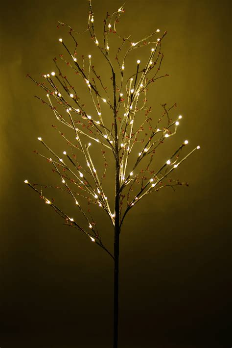 Led Light Tree by Snow Covered Birch With Berries Led 6ft Artificial Trees