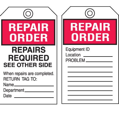 order tags equipment inspection tags repair order repairs required seton