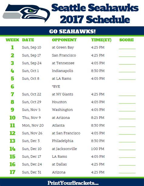 printable seattle seahawks schedule 2017 season