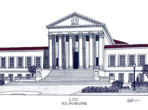 Drawing 1 In College by Lsu Building Drawing By Frederic Kohli