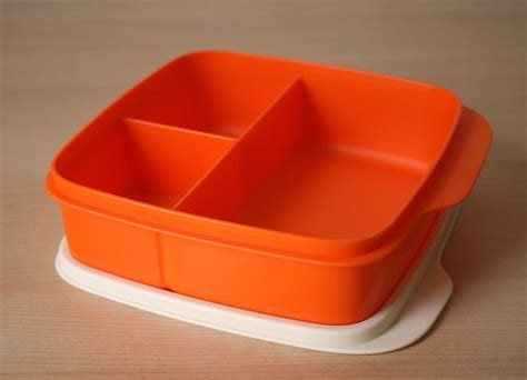 sectioned tupperware tupperware lunch square divided packette lunch box tangelo