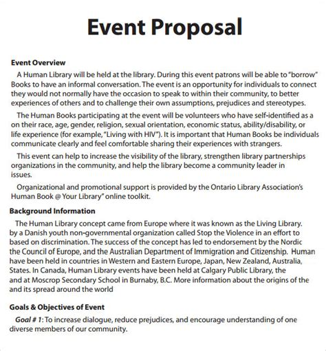 event proposal template 16 download free documents in