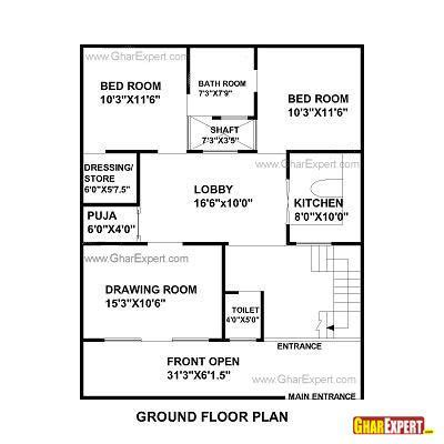 house plan for 32 feet by 40 feet plot (plot size 142