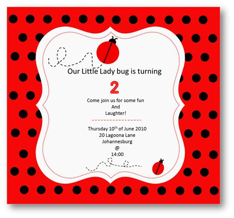 Ladybug Birthday Card Template by Ladybug Invitation Template Invitation Template