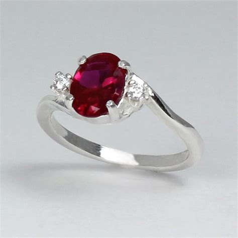sterling silver ruby ring with diamonds lab july birthstone