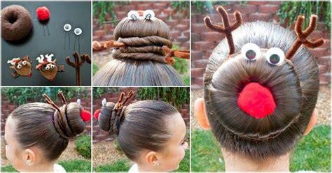 cheap xmas bun ideas creative ideas diy rudolph the reindeer bun hairstyle