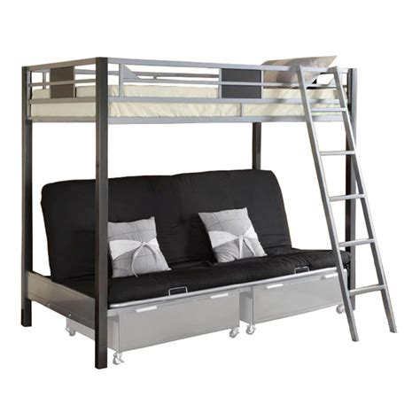 Futon With Bunk Bed Venetian Worldwide Cletis Iii Futon Bunk Bed Silver Home Furniture Bedroom
