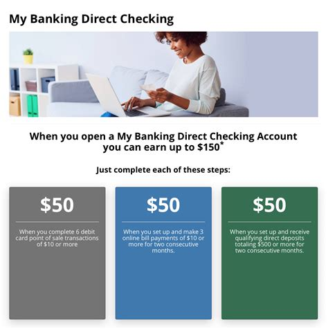 open a direct bank account my banking direct checking account 150 bonus promotion