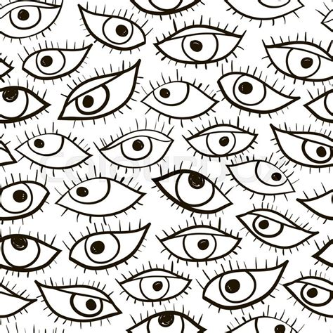eye pattern drawing black and white hand drawn vector eye seamless pattern
