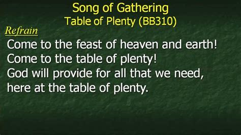 Come To The Table Lyrics by Table Of Plenty