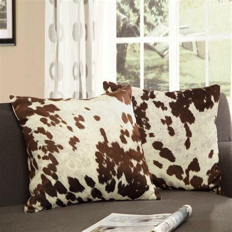 Western Cowhide Pillows - western throw pillow set 2 cowhide print cow hide animal
