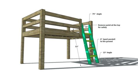 woodworking plans  build  full sized  loft bunk