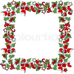 blank jul ramme med traditionelle julemotiver vektor