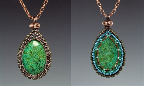 how to make bezel jewelry woven bezel with beaded back tutorial