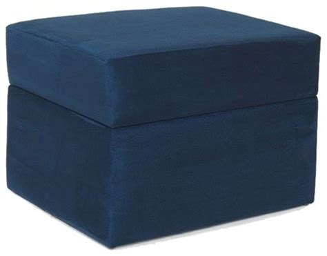 Devon Storage Ottoman In Navy Blue Modern Footstools Navy Blue Storage Ottoman