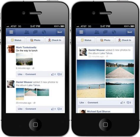 facebook mobile application facebook redesigns mobile applications tech news