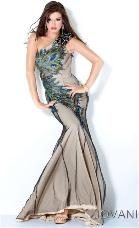jovani peacock design  shoulder long prom dress