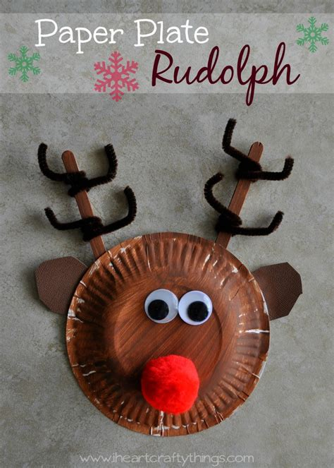 Reindeer Paper Crafts - paper plate rudolph reindeer i crafty things