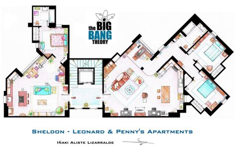 big bang theory floor plan floor plans to tv s best sitcom apartments