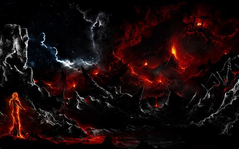 wallpaper dark fire landscape wallpaper and background image 1680x1050 id