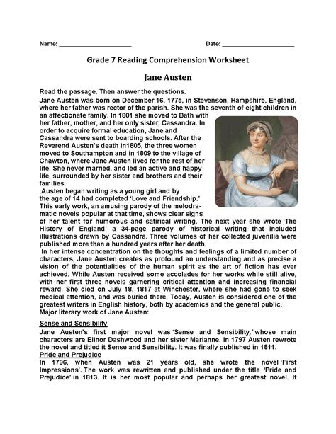 Reading Worksheets For 7th Grade by 100 Free Reading Comprehension Worksheets 7th Grade