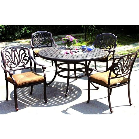 Darlee Patio Furniture Darlee Elisabeth 5 Cast Aluminum Patio Dining Set Dining Table With Insert
