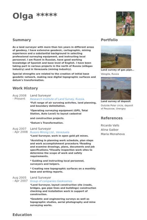 Land Surveyor Resume by Surveyor Resume Sles Visualcv Resume Sles Database