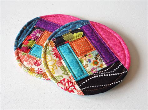 Patchwork Coasters - quilted coasters set of 2 large coasters patchwork mug rugs