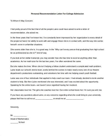 sample personal recommendation letters ms