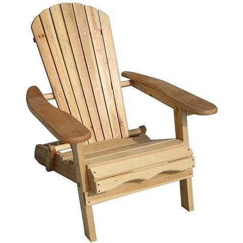 Foldable Adirondack Natural Finish Patio Chair Kit Wood Patio Chairs