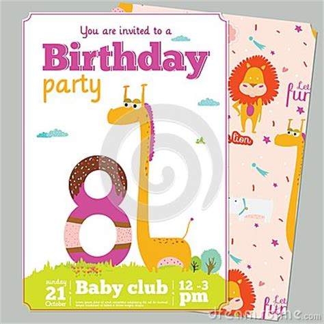 Animal Birthday Card Template by Birthday Invitation Card Template With Stock