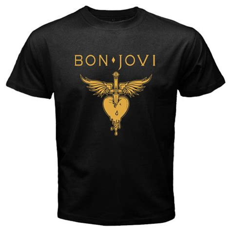 new bon jovi logo rock metal s black t shirt size s