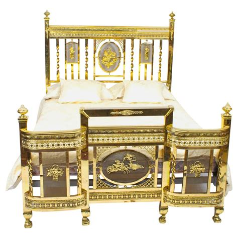 antique edwardian polished brass double bed circa 1900 at