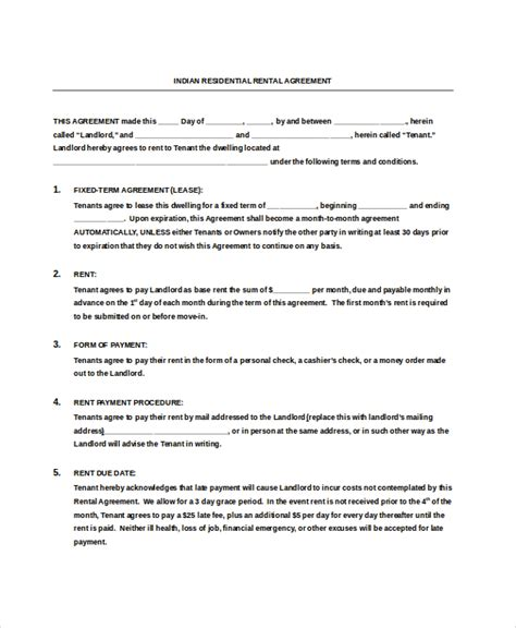 rent agreement template india 14 residential rental agreement templates free sle