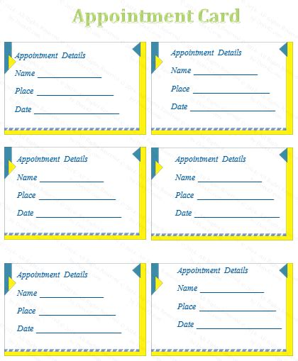 appointment cards templates free appointment card template v1 1 cards card
